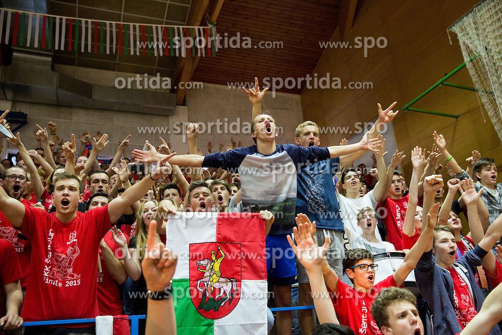 Fans of Tajfun celebrate after winning during basketball match between KK Tajfun and KK Rogaska in 4th Round of Final of Slovenian National Basketball Championship 2014/15, on May 28, 2015 in OS Hrusevec, Sentjur pri Celju, Slovenia. KK Tajfun won 3rd time and became Slovenian National Champion 2015. Photo by Vid Ponikvar / Sportida