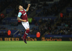 Mauro Zarate of West Ham United celebrates scoring his sides first goal  - Mandatory byline: Jack Phillips/JMP - 07966386802 - 22/09/2015 - SPORT - FOOTBALL - Leicester - King Power Stadium - Leicester City v West Ham United - Capital One Cup Round 3