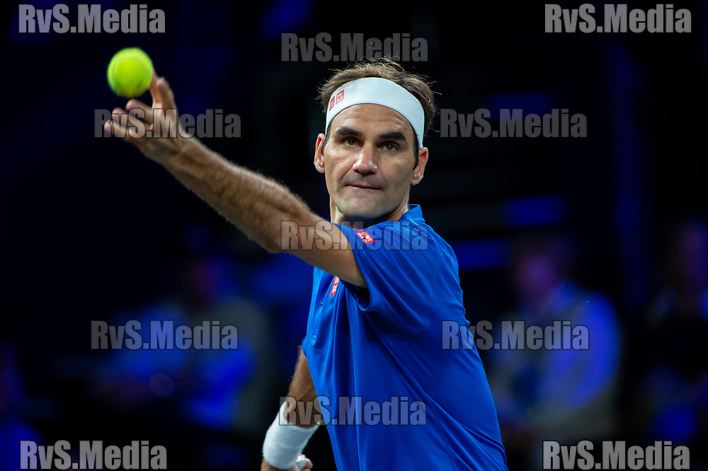 GENEVA, SWITZERLAND - SEPTEMBER 22: Roger Federer of Team Europe serves during Day 3 of the Laver Cup 2019 at Palexpo on September 20, 2019 in Geneva, Switzerland. The Laver Cup will see six players from the rest of the World competing against their counterparts from Europe. Team World is captained by John McEnroe and Team Europe is captained by Bjorn Borg. The tournament runs from September 20-22. (Photo by Robert Hradil/RvS.Media)