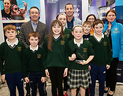 24/11/2019 repro free:<br />  Paul Mee, Chairperson, Galway Science and Technology Festival,  with Ronan Rogers - Senior R&D Director, Medtronic  and Brid Seoige NUIG  with Saint Vincents NS who were Awardees at the  Galway Science and Technology Festival, exhibition at NUI Galway where over 20,000 people attended exhibition stands  from schools to Multinational Companies . Photo:Andrew Downes, xposure