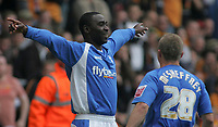 Photo: Paul Thomas.<br /> Wolverhampton Wanderers v Birmingham City. Coca Cola Championship. 22/04/2007.<br /> <br /> Andy Cole of Birmingham celebrates his goal with team-mate Gary McShefferey (R).