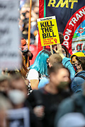 """People hold banners and placards during a """"Kill the Bill"""" demonstration outside Home Office in central London on Saturday, May 1st, 2021. (Photo/ Vudi Xhymshiti)"""