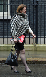 Maria Miller MP leaving No10 Downing Street after the first Cabinet meeting of the Year. <br />  London, United Kingdom. Tuesday, 7th January 2014. Picture by Ben Stevens / i-Images<br /> File photo -  Secretary of State for Culture, Media and Sport Maria Miller resigns following expenses allegations. Pictured filed Wednesday 9th April 2014.