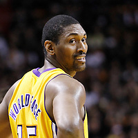 19 January 2012: Los Angeles Lakers small forward Metta World Peace (15) smiles during the Miami Heat 98-87 victory over the Los Angeles Lakers at the AmericanAirlines Arena, Miami, Florida, USA.