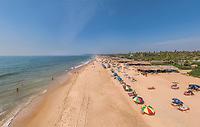 Aerial view of crowds along coast, Goa, India