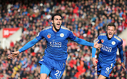 Leicester City's Vicente Iborra celebrates scoring his side's first goal of the game during the Premier League match at the bet365 Stadium, Stoke-on-Trent.