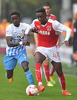 Fleetwood Town's Devante Cole battles with Coventry City's Gael Bigirimana<br /> <br /> Photographer Dave Howarth/CameraSport<br /> <br /> The EFL Sky Bet League One - Fleetwood Town v Coventry Town - Saturday 3 September 2016 - Highbury Stadium - Fleetwood<br /> <br /> World Copyright © 2016 CameraSport. All rights reserved. 43 Linden Ave. Countesthorpe. Leicester. England. LE8 5PG - Tel: +44 (0) 116 277 4147 - admin@camerasport.com - www.camerasport.com
