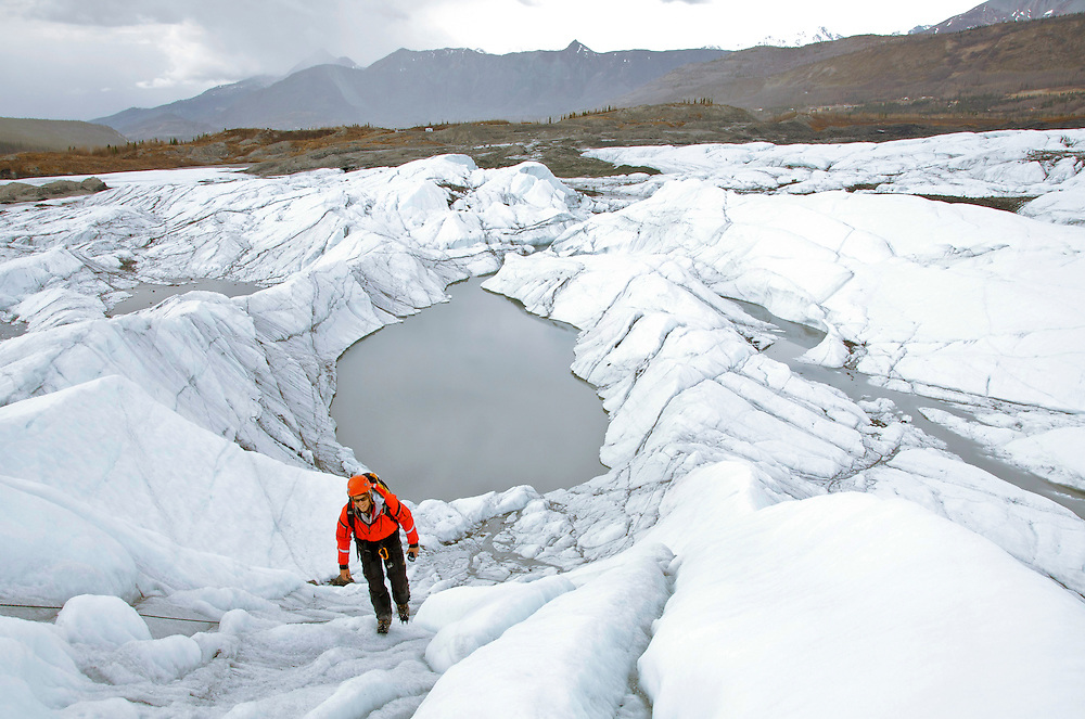 Alaska, Matanuska Valley. Climber on solo climb of Matanuska Glacier in Matanuska Valley.