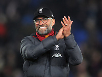 Football - 2019 / 2020 Premier League - Crystal Palace vs. Liverpool<br /> <br /> Liverpool Manager, Jurgen Klopp celebrates at the final whistle, at Selhurst Park.<br /> <br /> COLORSPORT/ANDREW COWIE