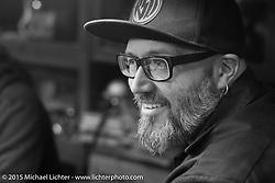 BMW Motorrad Creative Director Ola Stenegard on a visit to Animal Boat custom motorcycle shop after Mooneyes. Tokyo, Japan. December 8, 2015.  Photography ©2015 Michael Lichter.