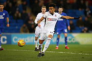 Derik Osede of Bolton Wanderers in action. EFL Skybet championship match, Cardiff city v Bolton Wanderers at the Cardiff city Stadium in Cardiff, South Wales on Tuesday 13th February 2018.<br /> pic by Andrew Orchard, Andrew Orchard sports photography.