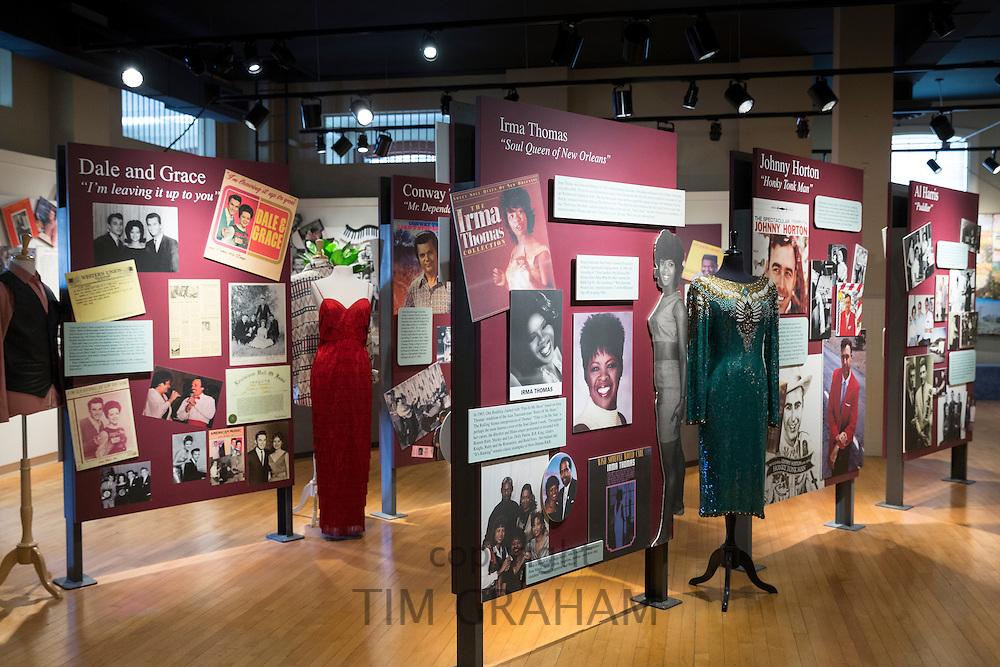 The Blues Trail - Irma Thomas, Dale and Grace, Johnny Horton display at Louisiana Delta Music Museum, Ferriday, USA