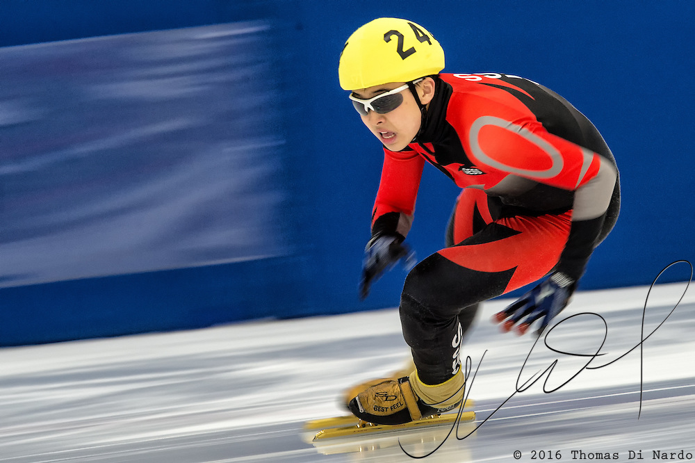 March 20, 2016 - Verona, WI - Nathan Lee, skater number 244 competes in US Speedskating Short Track Age Group Nationals and AmCup Final held at the Verona Ice Arena.