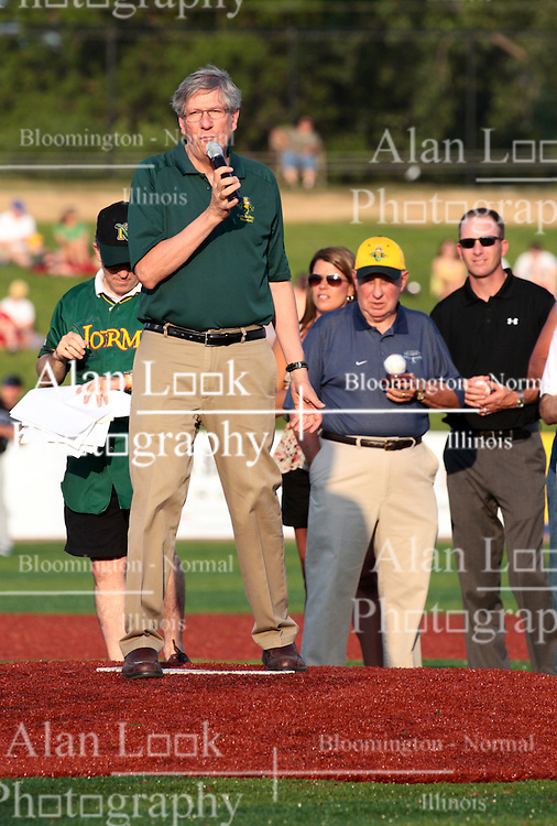 """1 June 2010: Town of Normal Mayor Greg Koos. The Windy City Thunderbolts are the opponents for the first home game in the history of the Normal Cornbelters in the new stadium coined the """"Corn Crib"""" built on the campus of Heartland Community College in Normal Illinois."""