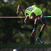 Mutaz Essa Barshim, Qatar, in action during the Men's High Jump Competition at the Adidas Grand Prix at Icahn Stadium, Randall's Island, Manhattan, New York, USA.  <br />  World champion Bodan Bondarenko of Ukraine beat world indoor champion Mutaz Essa Barshim of Qatar in an epic high jump duel at New York's Diamond League meet on Saturday. Bondarenko and Barshim both cleared 2.42 meters - the first time two athletes jumped that high in the same competition - and both took shots at 2.46. Both were unable to surpass the 21-year-old world record of 2.45 set by Cuba's Javier Sotomayor in 1993 but their leaps still marked the best height cleared since Sotomayor jumped 2.42 in 1994. Diamond League Adidas Grand Prix at Icahn Stadium, Randall's Island, Manhattan, New York, USA. 14th June 2014. Photo Tim Clayton