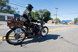 Jon Dobbs of Wisconsin riding his 1915 Harley-Davidson in the Motorcycle Cannonball Race of the Century. Stage-4 from Chillicothe, OH to Bloomington, IN. USA. Tuesday September 13, 2016. Photography ©2016 Michael Lichter.