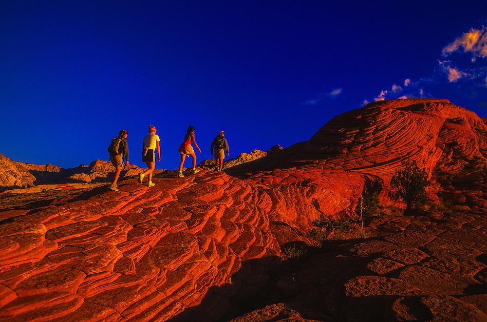Women hiking, Snow Canyon State Park, near Ivins (near St. George), Utah