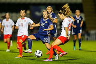 Erin Cuthbert (#22) of Scotland closes down to win the ball from Alisha Lehmann (#23) of Switzerland during the 2019 FIFA Women's World Cup UEFA Qualifier match between Scotland Women and Switzerland at the Simple Digital Arena, St Mirren, Scotland on 30 August 2018.