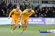 Newport's Andy Sandell of Newport county celebrates after he scores his sides 3rd goal.   Skybet football league two match, Newport county v Chesterfield at Rodney Parade in Newport, South Wales on Sunday 1st Dec 2013. pic by Andrew Orchard, Andrew Orchard sports photography,