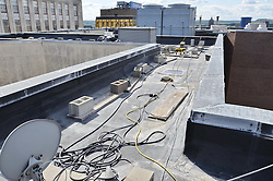 Roof Replacement and Masonry Repairs.  New Haven County Courthouse.  Project No: BI-JD-316A..Architect: Wiss, Janney, Elstner Associates, Inc.    Contractor: Silktown Roofing, Manchester CT..James R Anderson Photography   New Haven CT   photog.com.Date of Photograph: 11 August 2011.Camera View: West-southwest, Roof H foreground, Roof G background.