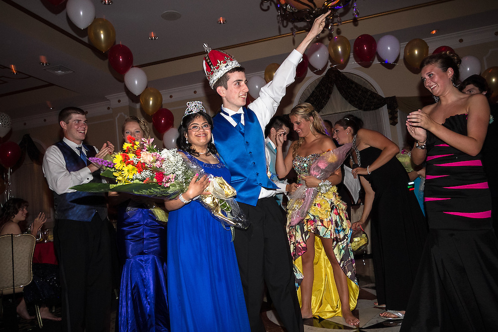 Middletown, New Jersey: Hema Ramaswamy and Justin Haggan, students in the special education program at Middletown High School South, are crowned king and queen of the prom after a vote of the entire senior class on June 3, 2011.