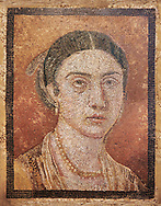Roman Mosaic portrait of a women from Pompei Archaeological Site. Naples Archaeological Museum inv 124666.  Wall art print by Photographer Paul E Williams If you prefer visit our World Gallery Print Shop To buy a selection of our prints and framed prints desptached  with a 30-day money-back guarantee and is dispatched from 16 high quality photo art printers based around the world. ( not all photos in this archive are available in this shop) https://funkystock.photoshelter.com/p/world-print-gallery .<br /> <br /> USEFUL LINKS:<br /> Visit our other HISTORIC AND ANCIENT ART COLLECTIONS for more photos to buy as wall art prints  https://funkystock.photoshelter.com/gallery-collection/Ancient-Historic-Art-Photo-Wall-Art-Prints-by-Photographer-Paul-E-Williams/C00002uapXzaCx7Y