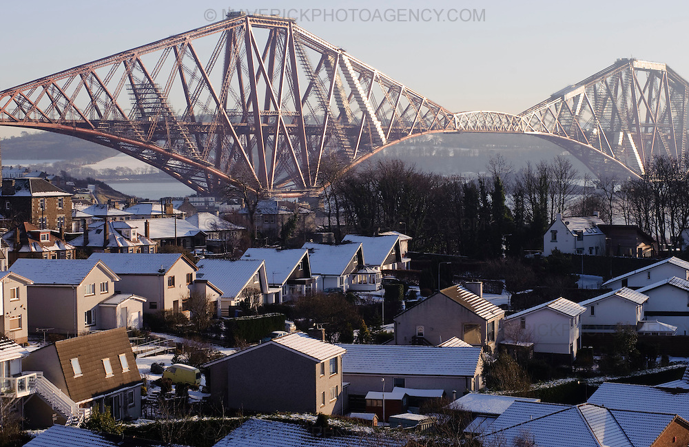 SOUTH QUEENSFERRY, UK - 7th January 2010:  General views of the Forth Raiway Bridge which spans over the Firth of Forth in the east of Scotland connecting the countries capital Edinburgh with Fife.  (Photograph: Callum Bennetts/MAVERICK)