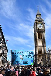 Unite for Europe (anti Brexit) march to Parliament, a few days before Article 50 is due to be triggered. And 3 days after a terrorist attack on Westminster Bridge. London 25 March 2017 UK