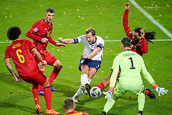LEUVEN, BELGIUM - Sunday, November 15, 2020: England's captain Harry Kane sees his shot saved by Belgium's goalkeeper ThibautCourtois during the UEFA Nations League Group Stage League A Group 2 match between England and Belgium at Den Dreef. (Pic by Jeroen Meuwsen/Orange Pictures via Propaganda)