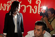 03 JULY 2011 - BANGKOK, THAILAND:    YINGLUCK SHINAWATRA, the Prime Minister elect of Thailand, is photographed before announcing her victory in the Thai elections Sunday night. If her election holds she will be the first woman elected Prime Minister of Thailand. Yingluck Shinawatra and the Pheu Thai Party scored a massive landslide win in the Thai election Sunday. Pheu That is estimated to have won more than 300 seats in Thailand 500 seat parliament, so they won an absolute majority and could govern without having to form a coalition with minor parties. Pheu Thai is the latest incarnation of deposed former Prime Minister Thaksin Shinawatra's political party. Yingluck is his youngest sister. Many observers expect legal challenges to the Pheu Thai victory and the election does not completely resolve Thailand's difficult political history of the last five years.   PHOTO BY JACK KURTZ
