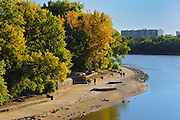 Trail alongside the Assiniboine and Red Rivers at The Forks National Historic Site<br /> Winnipeg<br /> Manitoba<br /> Canada