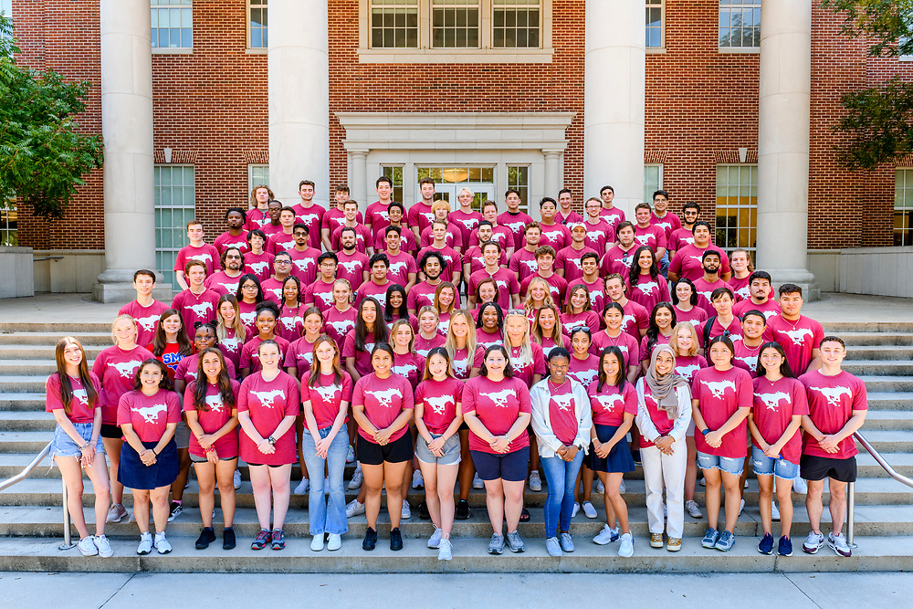 SMU Transfer students pose for a group photo at Caruth Hall during Stampede, Friday, August 20, 2021 on the SMU Campus.