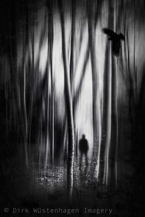abstract forest with silhouette of a man
