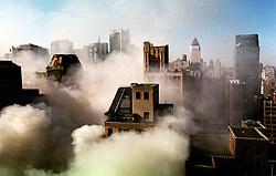 Smoke engulfs the garment distric of midtown Manhattan, NY, USA.