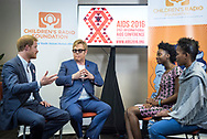21st International AIDS Conference (AIDS 2016), Durban, South Africa.<br /> Photo shows HRH Prince Harry and Sir Elton John meeting presenters from the Childrens' Radio Foundation. International AIDS Conference. Prince Harry is one of the Co-founders and Patrons of Sentebale, which delivers psychosocial support to adolescents living with HIV in Lesotho and now in Botswana.<br /> Photo©International AIDS Society/Steve Forrest/Workers' Photos