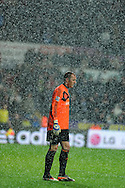 Swansea city goalkeeper Gerhard Tremmel walks off in the pouring rain after his side are beat 3-2. Barclays Premier league, Swansea city v Manchester City at the Liberty Stadium in Swansea,  South Wales on  New years day Wed 1st Jan 2014 <br /> pic by Andrew Orchard, Andrew Orchard sports photography.