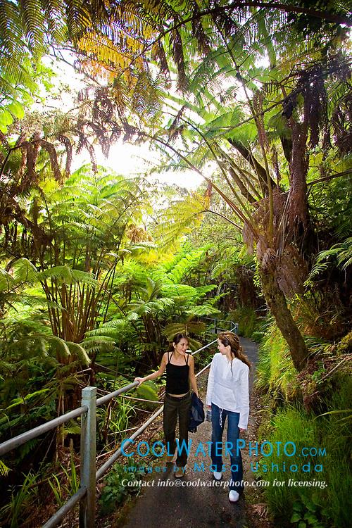 woman visitors exploring tropical rainforest of Hapuu Pulu, fern tree, Cibotium sp., and Ohia Lehuna, Metrosideros polymorpha, Hawaii Volcanoes National Park, Kilauea, Big Island, Hawaii, USA, MR