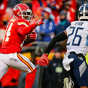 KANSAS CITY, MO - JANUARY 19: Sammy Watkins #14 of the Kansas City Chiefs runs for a fourth quarter touchdown past Logan Ryan #26 of the Tennessee Titans in the AFC Championship Game at Arrowhead Stadium on January 19, 2020 in Kansas City, Missouri. (Photo by David Eulitt/Getty Images)