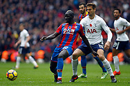 Mamadou Sakho of Crystal Palace (L) under pressure from Fernando Llorente of Tottenham Hotspur (R). Premier league match, Tottenham Hotspur v Crystal Palace at Wembley Stadium in London on Sunday 5th November 2017.<br /> pic by Steffan Bowen, Andrew Orchard sports photography.