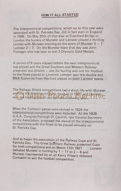 How it all started,   Railway Cup Hurling.Munster v Connacht.Pairc Ui Chaoimh.16th April 1978.16.04.1978