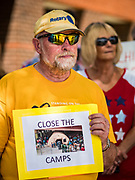 02 JULY 2019 - DES MOINES, IOWA: A man stands in front of Rep. Cindy Axne's (D-IA) office in Des Moines during. About 150 people came to Congresswoman Axne's office Tuesday to protest the treatment of migrant children detained by the US Border Patrol along the US/Mexico border. Axne was not in the office, but a member of Axne's staff took notes and promised to pass people's concerns on to the Congresswoman. Similar protests were held at other congressional offices and Immigration and Customs Enforcement (ICE) detention facilities across the country.          PHOTO BY JACK KURTZ