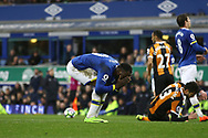 Romelu Lukaku of Everton reacts after being flagged off side. Premier league match, Everton v Hull city at Goodison Park in Liverpool, Merseyside on Saturday 18th March 2017.<br /> pic by Chris Stading, Andrew Orchard sports photography.