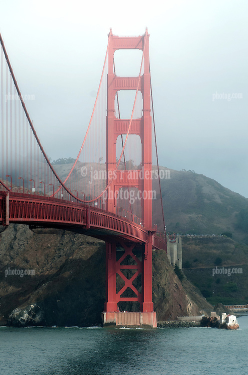 View from the South of The Golden Gate and Bridge. Near the Visitors Center on a Misty Morning