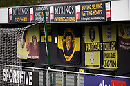 Harrogate Town flags and bunting behind the goal during the EFL Sky Bet League 2 match between Harrogate Town and Oldham Athletic at the EnviroVent Stadium, Harrogate, United Kingdom on 20 April 2021.