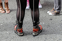 A selection of different footwear worn by participants in the Cardiff Pride parade.