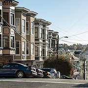 Some of the discintive row houses next to a sharp drop-off on a steep hill in San Francisco's North Beach neighborhood.