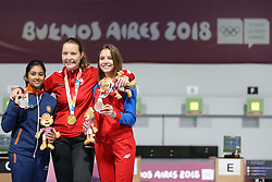 BUENOS AIRES, Oct. 9, 2018  Gold medalist Stephanie Laura Scurrah Grundsoee (C) of Denmark, silver medalist Mehuli Ghosh (L) of India and bronze medalist Marija Malic of Serbia attend the awarding ceremony for the women's 10m air rifle at the 2018 Summer Youth Olympic Games in Buenos Aires, Argentina, on Oct. 8, 2018.  Stephanie Laura Scurrah Grundsoee won the gold with 248.7 points, Mehuli Ghosh and Marija Malic won the silver and the bronze with 248.0 points and 226.2 points respectively. (Credit Image: © Li Ming/Xinhua via ZUMA Wire)