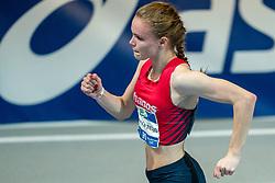 Isabel van den Berg in action on the 200 meter during AA Drink Dutch Athletics Championship Indoor on 21 February 2021 in Apeldoorn.