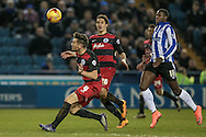 Grant Hall (QPR) cushions a header back to his keeper during the Sky Bet Championship match between Sheffield Wednesday and Queens Park Rangers at Hillsborough, Sheffield, England on 23 February 2016. Photo by Mark P Doherty.