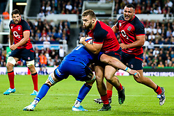 Luke Cowan-Dickie of England is tackled by Nicola Quaglio of Italy - Mandatory by-line: Robbie Stephenson/JMP - 06/09/2019 - RUGBY - St James's Park - Newcastle, England - England v Italy - Quilter Internationals